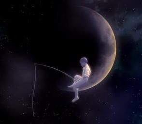 фото мальчик на луне с удочкой